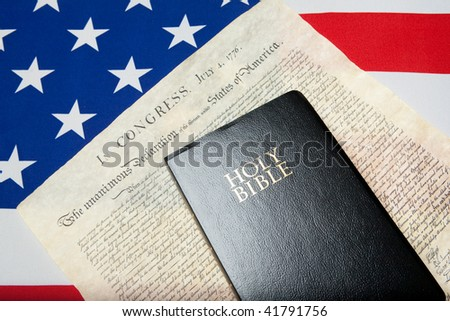 black Bible and Declaration of independence on the ensign of the USA