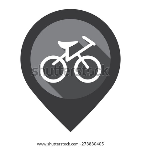 Black Bicycle, Bicycle Shop or Bicycle Parking Map Pointer Icon Isolated on White Background  - stock photo