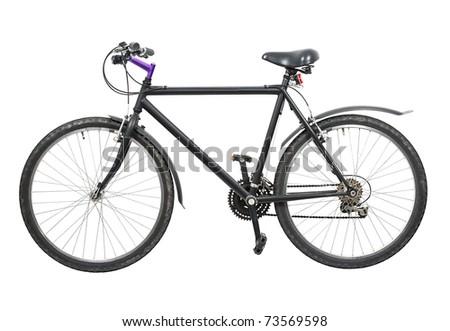Black bicycle isolated on white background - stock photo