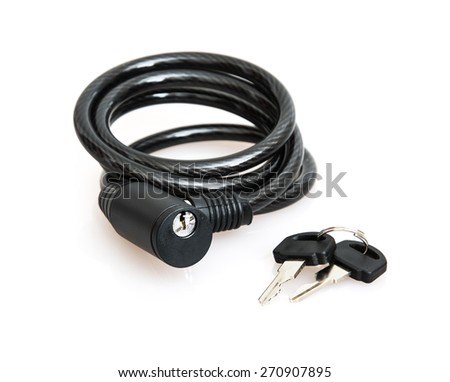 Black bicycle lock with keys on the white background. - stock photo