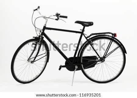 Black bicycle on withe paper background - stock photo
