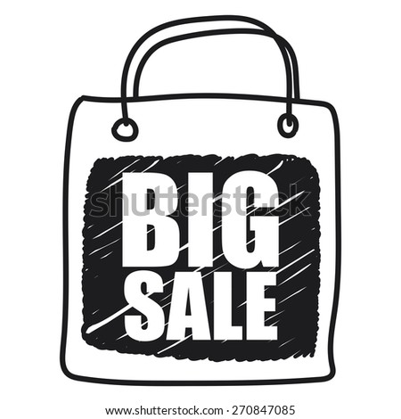 Black Big Sale Shopping Bag  Banner, Sign, Label or Icon Isolated on White Background - stock photo