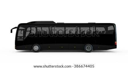 Black big tour bus isolated on white background - stock photo