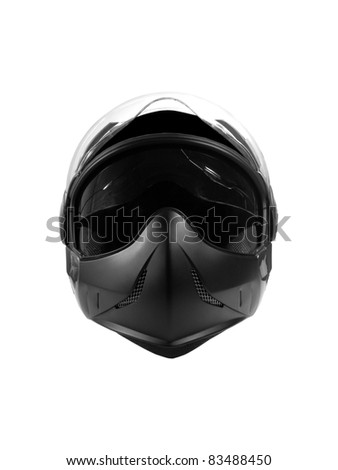 Black biker helmet isolated over white background - stock photo