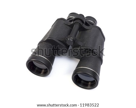 Black binoculars on white background.