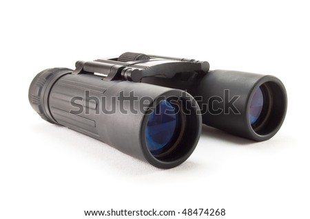 black binoculars with blue lens isolated on white