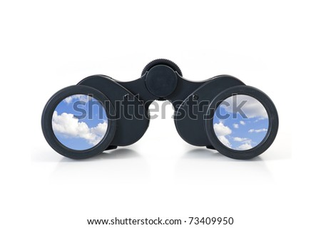 Black binoculars with sky lens on white background. Freedom concept. - stock photo