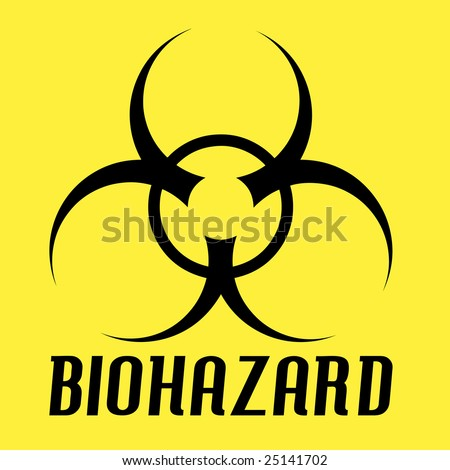 Black biohazard symbol over a yellow background. - stock photo