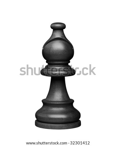 black bishop chess figure (+clipping path, high resolution)