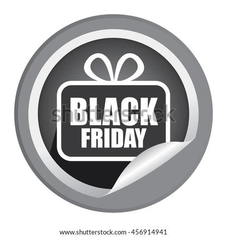 Black Black Friday  Promotion Campaign Infographics Icon on Circle Peeling Sticker Isolated on White Background  - stock photo