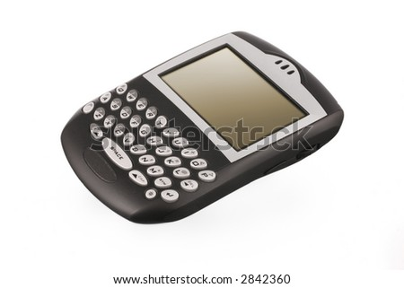 black blackberry pda on white ground with gradiated led display - stock photo
