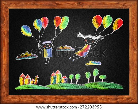 Black blackboard with frame and kids drawing. Color chalks