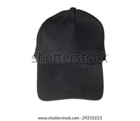 Black blank Baseball Cap on white ground - stock photo