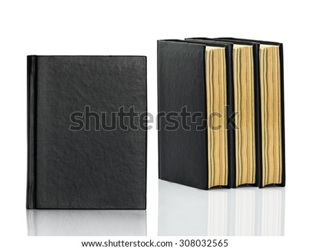 Black blank book,Closed black book is laying on white background - stock photo