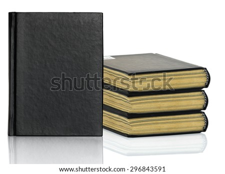 Black blank book,Closed black book is laying with shadow on white background - stock photo