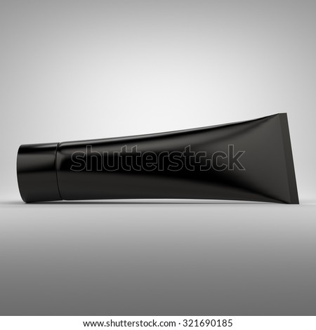 Black blank cosmetics tube packaging. Best for hand or face cream.