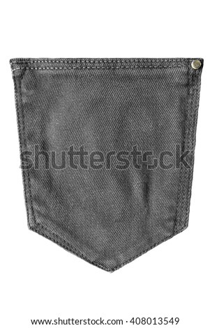 Black blank denim pocket on white background