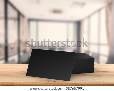 black blank namecard on wooden table - stock photo