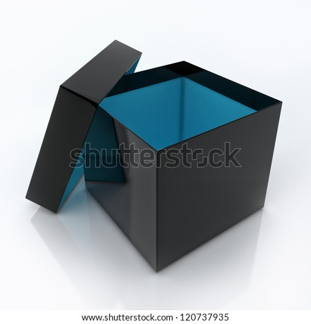 Black Blank Open Box Isolated Over White Background - stock photo