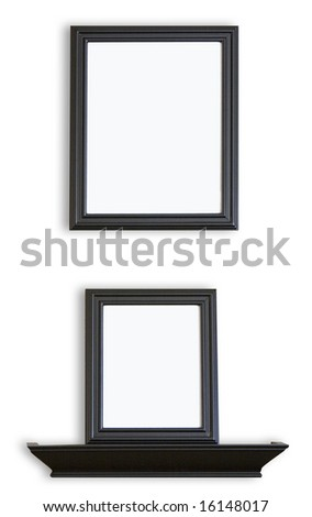 Black blank Picture Frames and shelf - stock photo