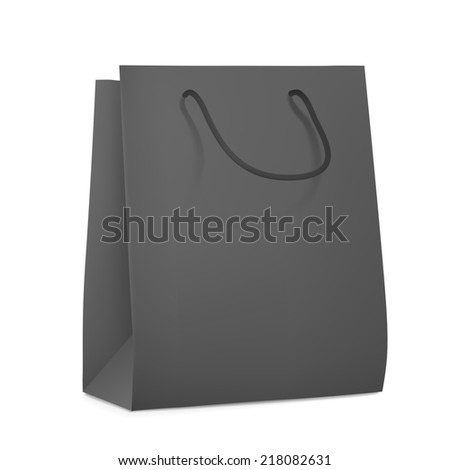 black blank shopping bag isolated on white