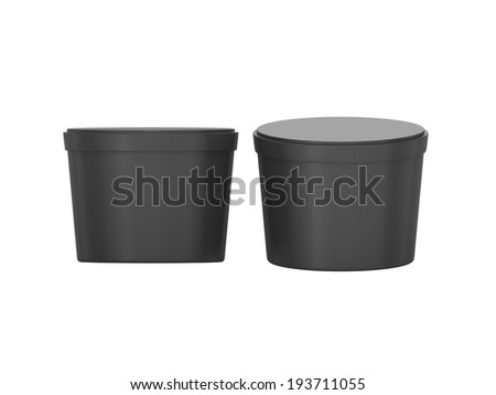 Black blank short Tub Food Plastic Container packaging with clipping path, Plastic package mock up  - stock photo