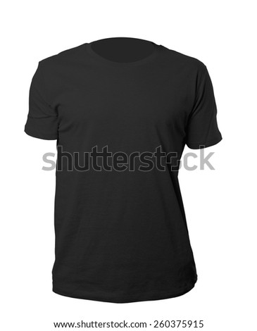 black blank tshirt template isolated on white with clipping path - stock photo