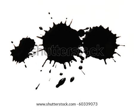 black blot isolated on white - stock photo