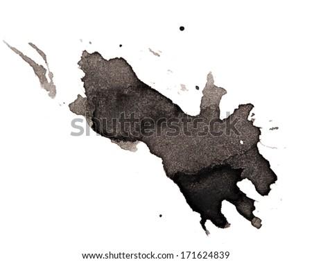 black blot on a white background - stock photo