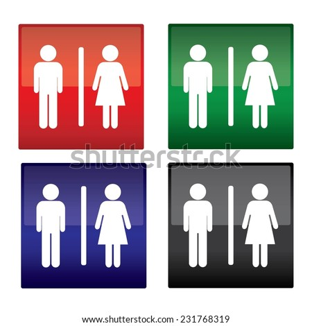 Black, Blue, Green And Red Square Toilet Sign on White Background, a man and a lady toilet sign.