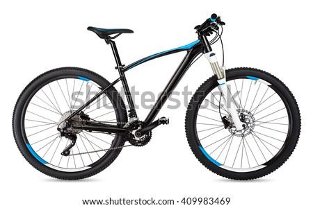 black blue mountain bike isolated on white background - stock photo