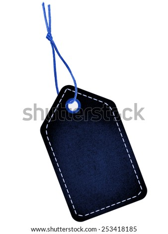 Black blue tag label with blue string and stitches - stock photo