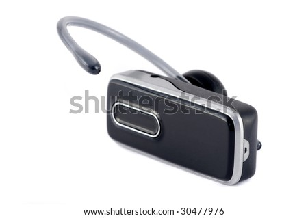 Black blue-tooth headset isolated on white