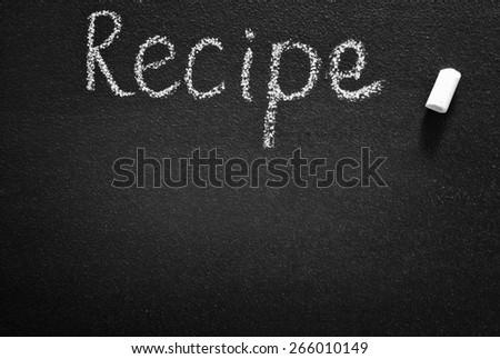 black board for recipe, black board and chalk - stock photo