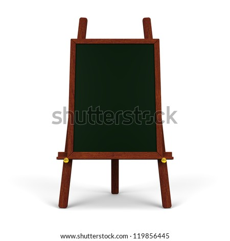 Black Board On Easel Front View - stock photo