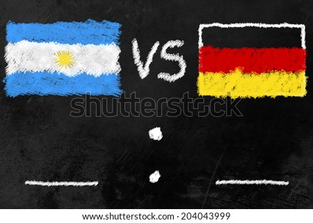 black board with flags of Argentinia and Germany, the finalists of the soccer world cup 2014 in brazil. - stock photo
