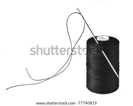 Black bobbin and needle on a white background - stock photo