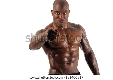 Black bodybuilder pointing to you and asking you to train harder. Trainer motivating to train. Strong man with perfect abs, shoulders,biceps, triceps and chest. Isolated on white background - stock photo