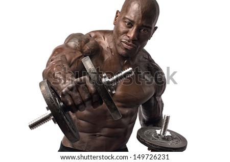 Black bodybuilder training with dumbbells. Strong man with perfect abs, pecs shoulders,biceps, triceps and chest. Isolated on white background - stock photo