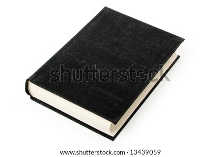 Black book laid on white background