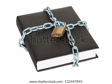 Black book secured by metal chain and lock. Isolated on white