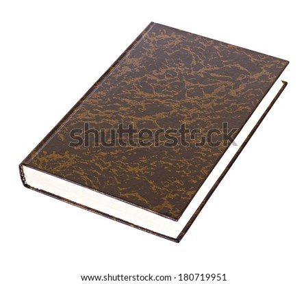 Black book with brown pattern lying isolated on white