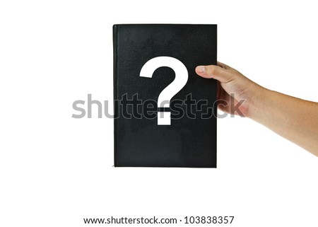 Black book with question mark