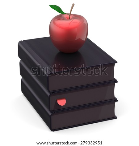 Black books red apple index textbooks stack education studying reading learning school college knowledge literature idea icon concept. 3d render isolated on white - stock photo