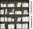 black bookshelves with white books (illustrated concept) - stock photo