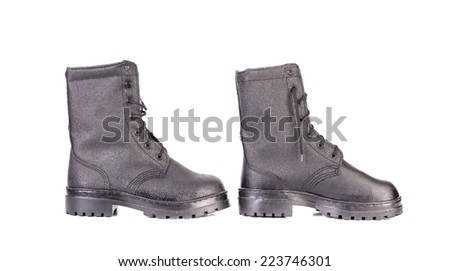 black boots men on white background closeup