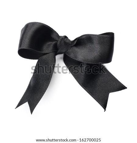 black bow ribbon on white background - stock photo