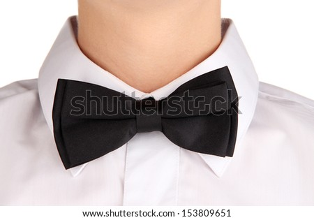 Black bow tie wearing shirt isolated on white