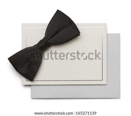 Black Bow Tie with Card and Envelope isolated on White Background. - stock photo