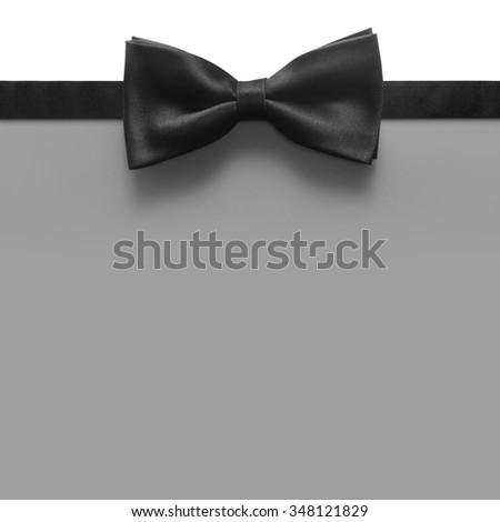 black bow tie with grey background - stock photo